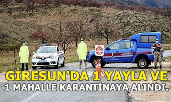 Giresun'da 1 Yayla ve 1 Mahalle Karantinaya Alındı